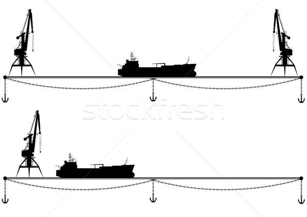 set border with crane and ship Stock photo © tanais