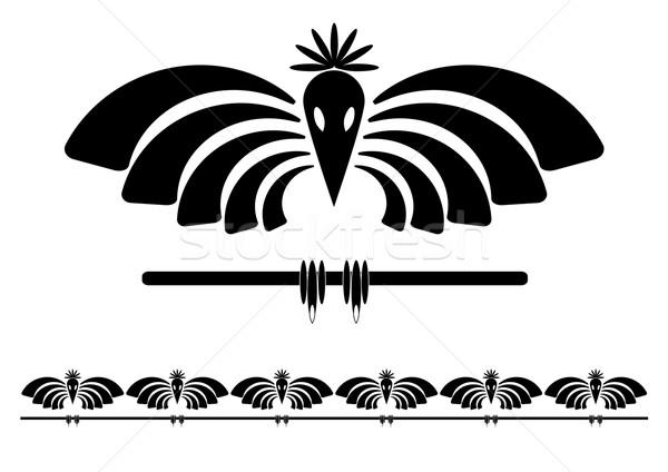 Gestileerde raaf vector ingesteld illustratie zwart wit Stockfoto © tanais