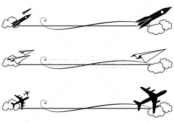 セット ロケット 飛行機 ベクトル 黒白 色 ストックフォト © tanais