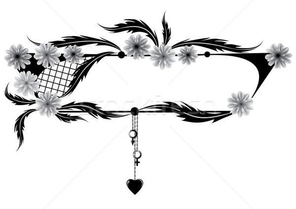 frame wiith flowers, heart, Venus and Mars Stock photo © tanais