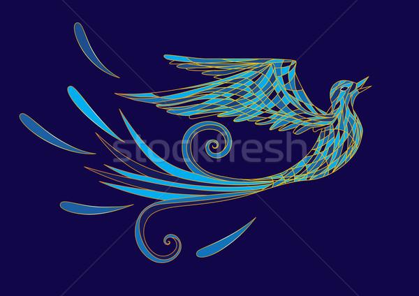 Bleu oiseau stylisé or bijoux bijoux Photo stock © tanais