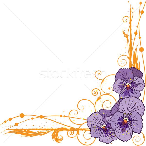 border with  violet pansies Stock photo © tanais