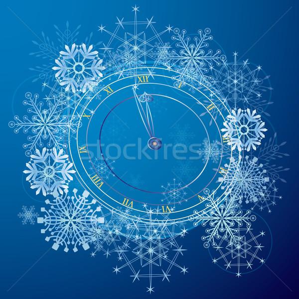 Nieuwjaar patroon klok vector abstract Blauw Stockfoto © tanais