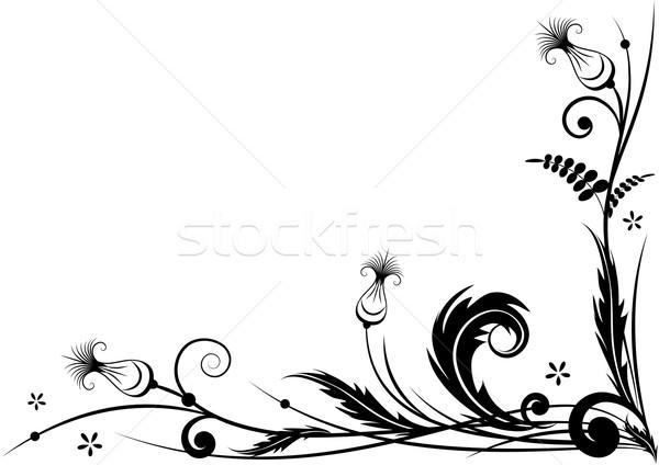 Stilizált vektor keret sarok terv feketefehér Stock fotó © tanais