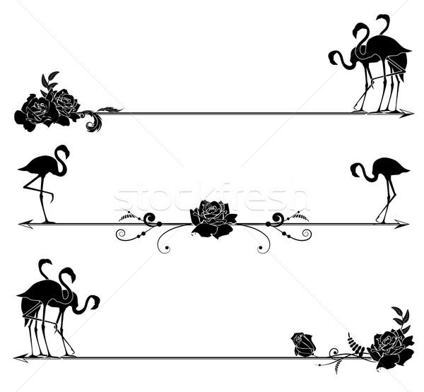 set borders with flamingo and roses Stock photo © tanais