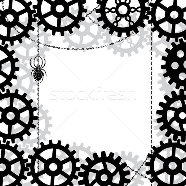 Sebességváltó pók lánc vektor feketefehér színek Stock fotó © tanais