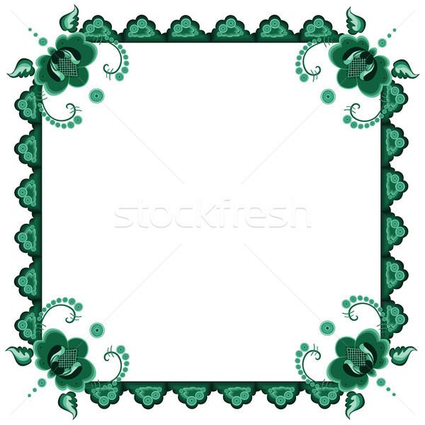 Frame gestileerde bloemen vector groene kleuren Stockfoto © tanais