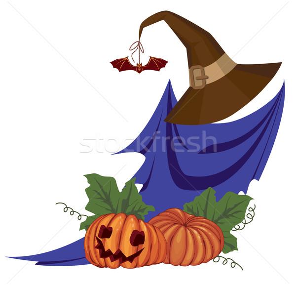 ストックフォト: ハロウィン · 実例 · ゴースト · ベクトル · カボチャ · オレンジ