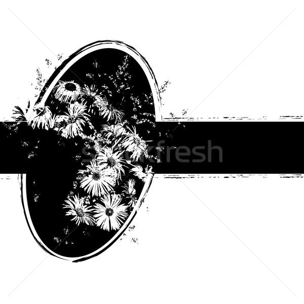 Bos bloemen zwart wit kleuren ontwerp Stockfoto © tanais