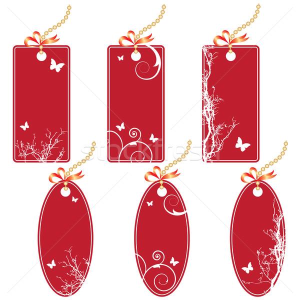 цен вектора набор красный цветами Сток-фото © tanais