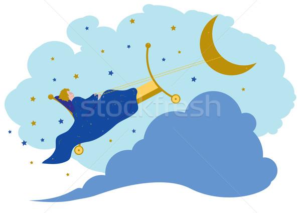 Baby sogni notte cielo luna blu Foto d'archivio © tanais
