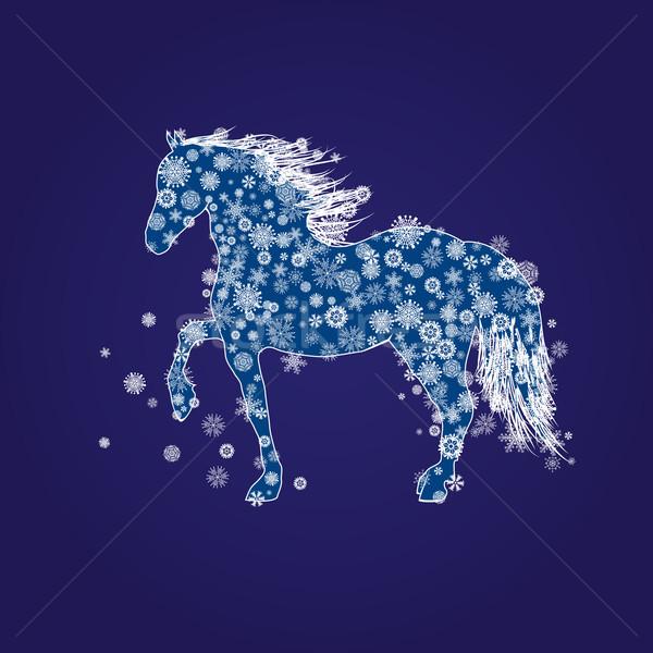új év ló illusztráció hó kék fehér Stock fotó © tanais