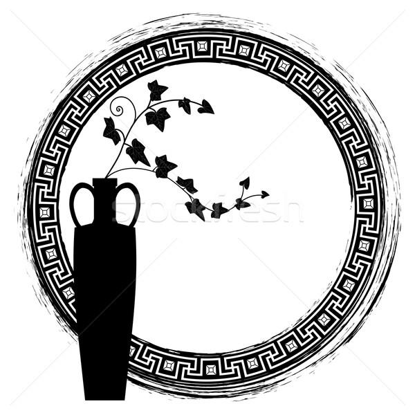 Klimop frame vector zwart wit kleuren Stockfoto © tanais