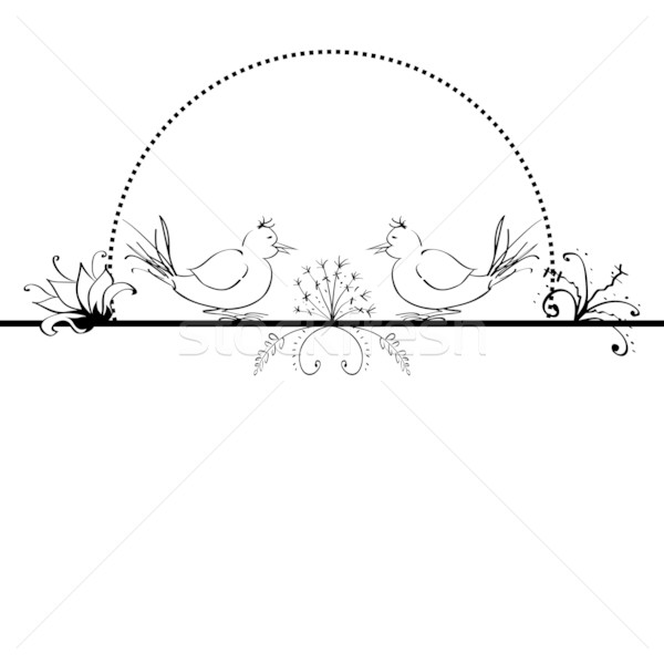 folk  background with flowers and birds Stock photo © tanais