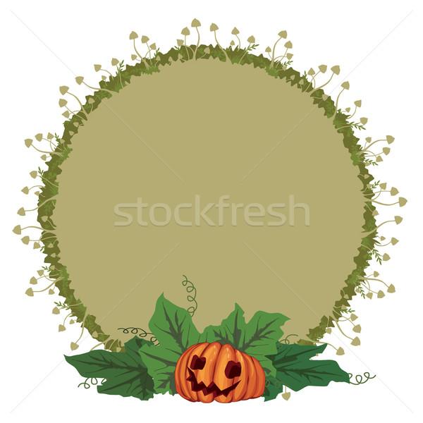 Halloween illustration with pumpkin and toadstools Stock photo © tanais