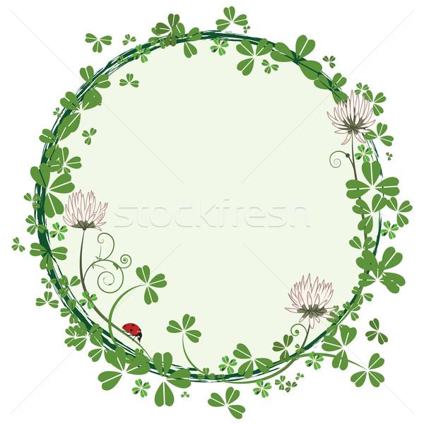 Keret virágok lóhere vektor katicabogár virág Stock fotó © tanais