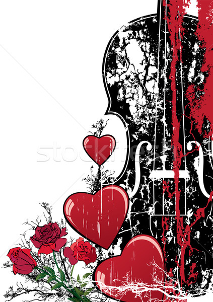 Vektor virágmintás Valentin nap musical szívek hegedű Stock fotó © tanais