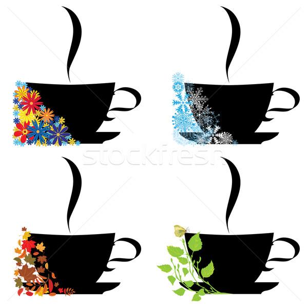 Csésze négy évszak szett vektor illusztrációk tavasz Stock fotó © tanais
