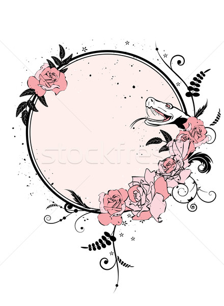 floral frame with snake Stock photo © tanais