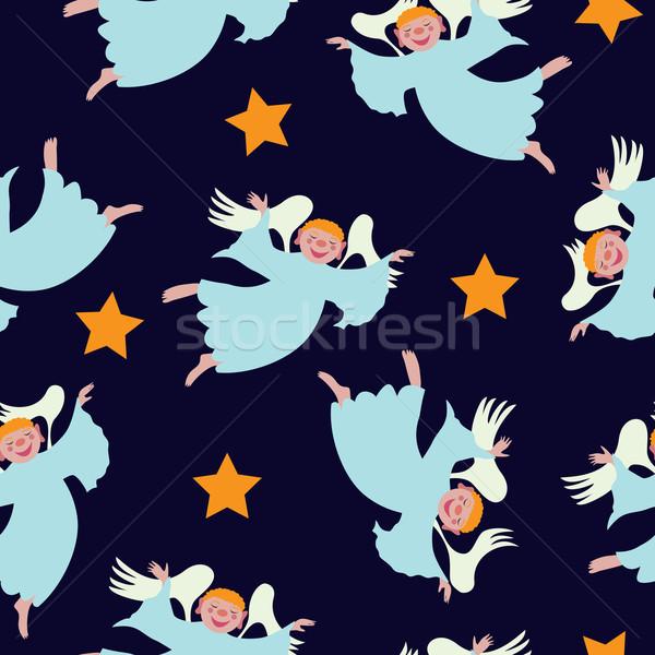 Naadloos christmas vliegen engelen kind achtergrond Stockfoto © tanais