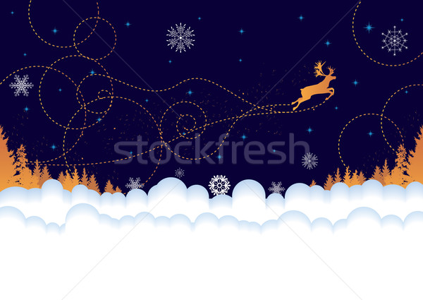 Xmas postcard with reindeer Stock photo © tanais