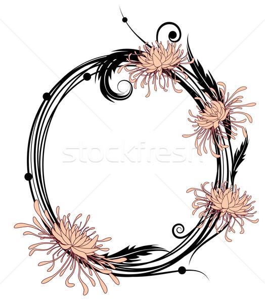 Krizantém virágmintás keret fekete rózsaszín fehér Stock fotó © tanais
