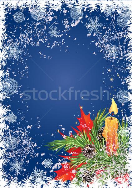 Karácsony keret karácsonyi üdvözlet gyertya fenyő ág Stock fotó © tanais