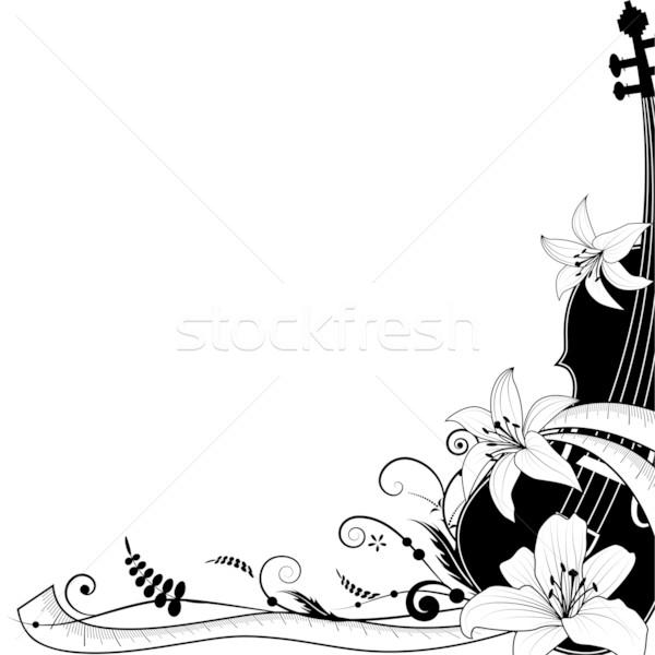 Violino alegoria flor abstrato fundo preto Foto stock © tanais