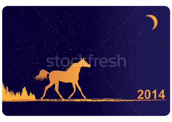 Yılbaşı 2014 at vektör orman star Stok fotoğraf © tanais
