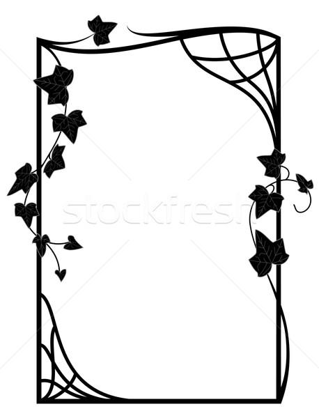 Virágmintás keret vektor ágak borostyán feketefehér Stock fotó © tanais