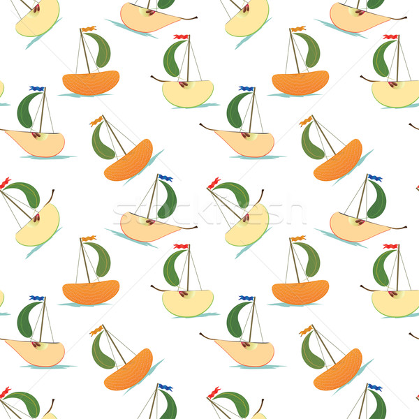 stylized fruits  like ship Stock photo © tanais