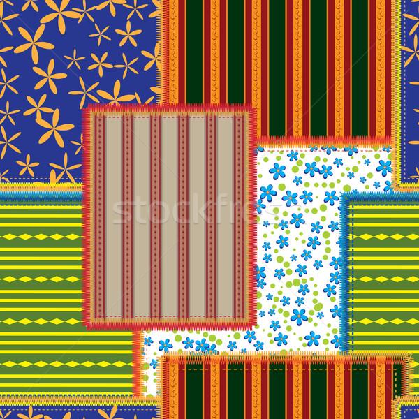 Yama işi çiçek arka plan turuncu mavi Stok fotoğraf © tanais