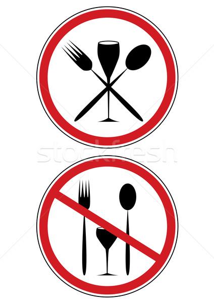 Сток-фото: знак · диета · набор · вектора · дорожных · знаков · стекла