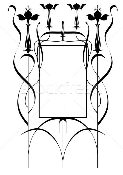 Frame vettore stilizzato bianco nero colori foglia Foto d'archivio © tanais