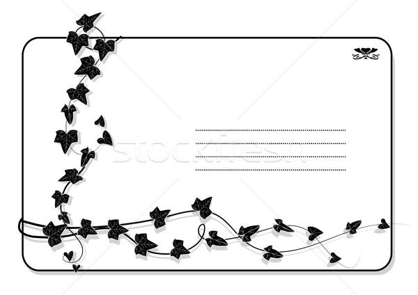 Photo stock: Lierre · vecteur · branche · blanc · noir · couleurs · feuille