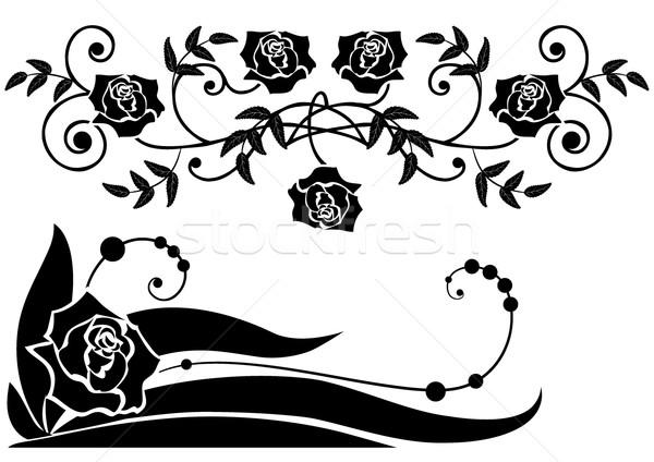 Rozen patronen bloem steeg blad zwarte Stockfoto © tanais