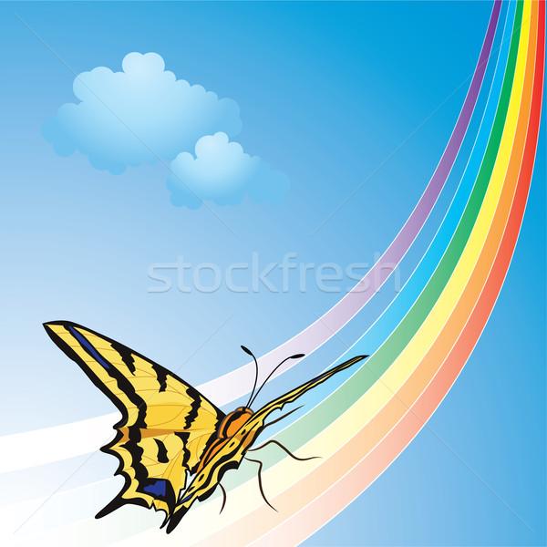 Başlatmak soyut örnek kelebek gökkuşağı gökyüzü Stok fotoğraf © tanais