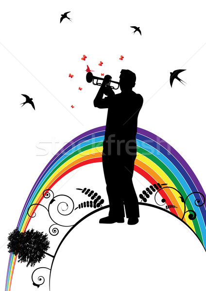 trumpeter, swallow and  butterfly Stock photo © tanais