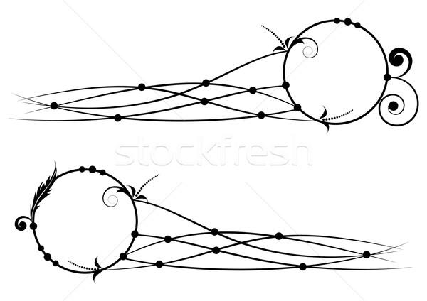 Szett virágmintás bannerek vektor feketefehér színek Stock fotó © tanais
