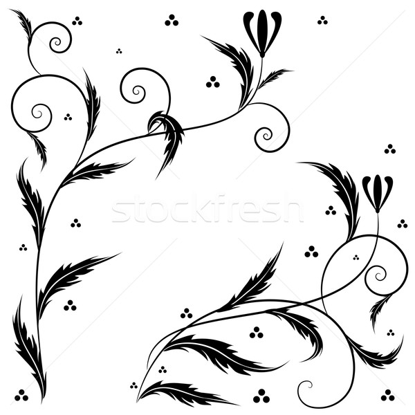 Retro virágmintás művészet vektor szett illusztrációk Stock fotó © tanais