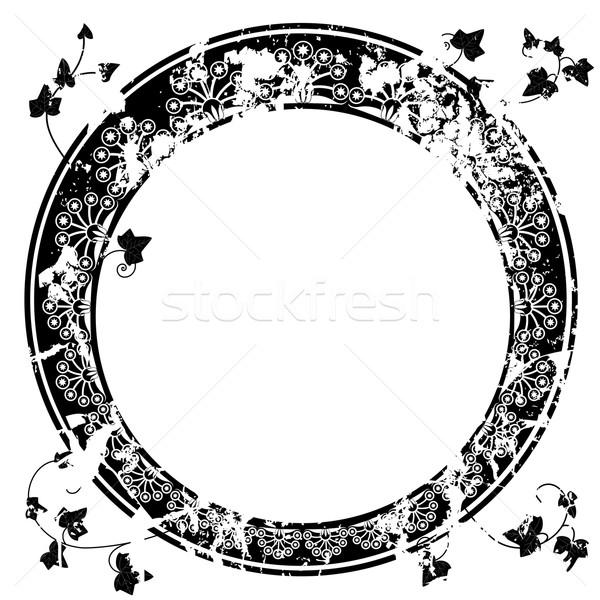Frame klimop vector zwart wit kleuren blad Stockfoto © tanais