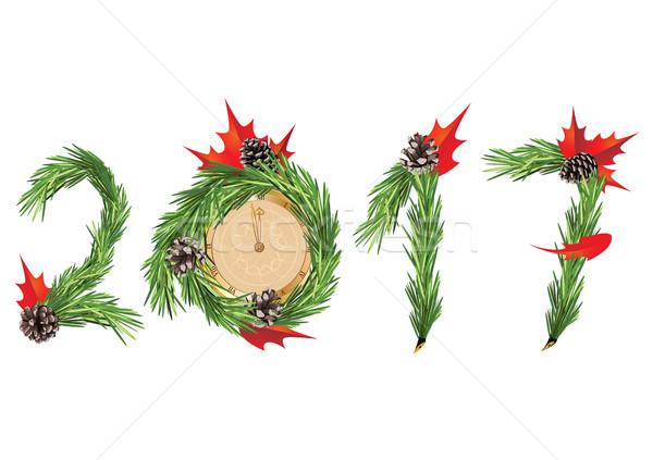 Anul nou Crăciun copac decorare ceas alb Imagine de stoc © tanais