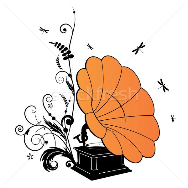 Gramofon vektor háttér retro hang klasszikus Stock fotó © tanais