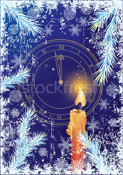 Foto stock: Ano · novo · natal · árvore · relógio