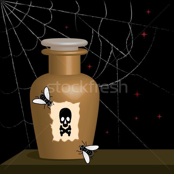 Zehir şişe star siyah uçmak beyaz Stok fotoğraf © tanais