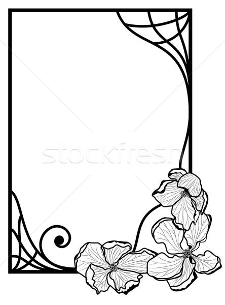 Floral · Rahmen · Vektor · Apfel · Blumen · schwarz · weiß - vektor ...