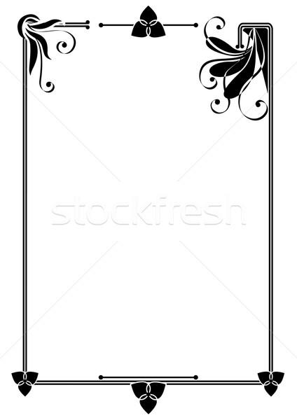 Frame vector abstract bloemen zwart wit Stockfoto © tanais