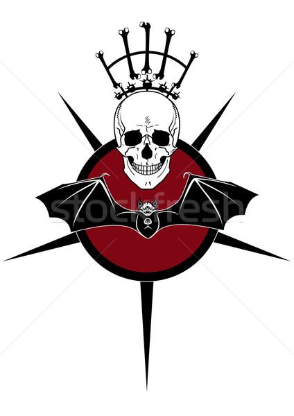 Cabeça bat assinar morte vermelho preto Foto stock © tanais