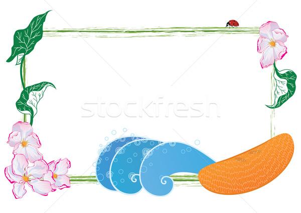 Keret virág gyümölcs vektor alma eps Stock fotó © tanais
