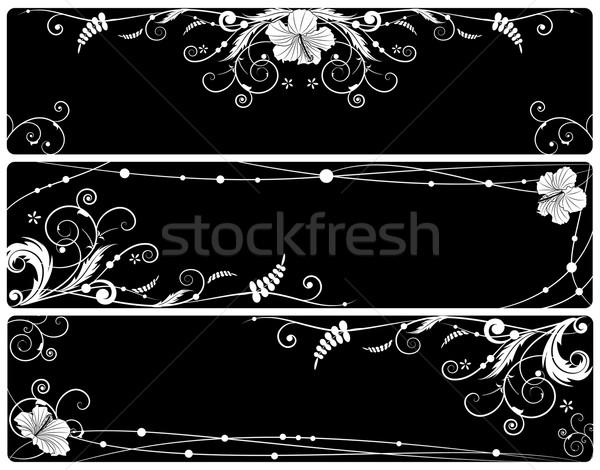 Сток-фото: набор · цветочный · Баннеры · гибискуса · вектора · черно · белые